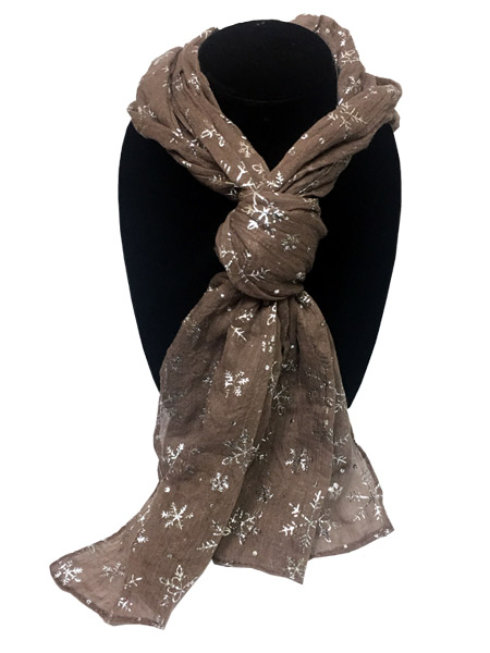 Tan Snowflake Designer Scarf - Prizes for Ladies - Prizes & Novelties