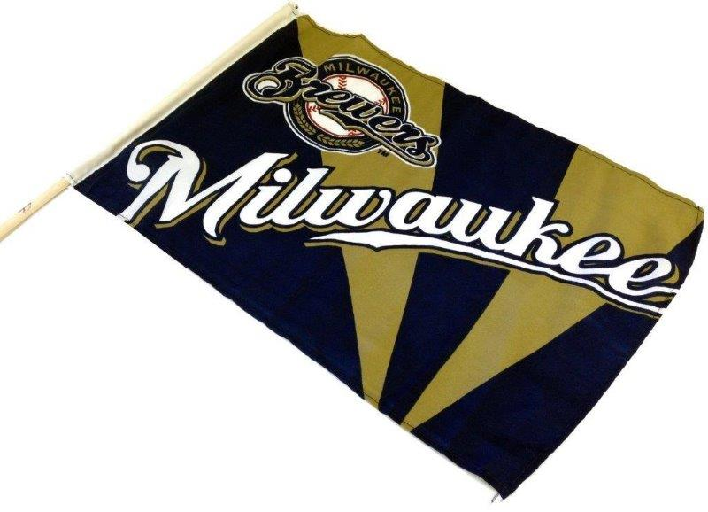Team Flag on Stick - Brewers - Sports Team Logo Prizes - Prizes & Novelties