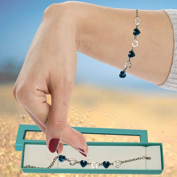 Crystal Tiffany Blue Heart Bracelet
