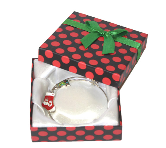 Holiday Charm Bracelet in Polka Dot Box - Jewelry Novelties - Prizes & Novelties