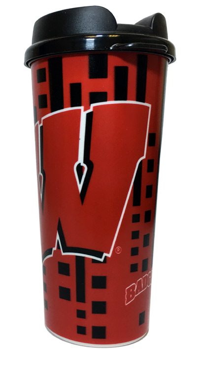 Wisconsin Badgers 16 Oz. Travel Mug - Sports Team Logo Prizes - Prizes & Novelties