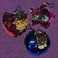 Flip Sequin Plush Key Chain